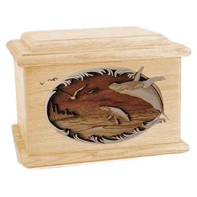 Whale & Calf Maple Memory Chest Cremation Urn