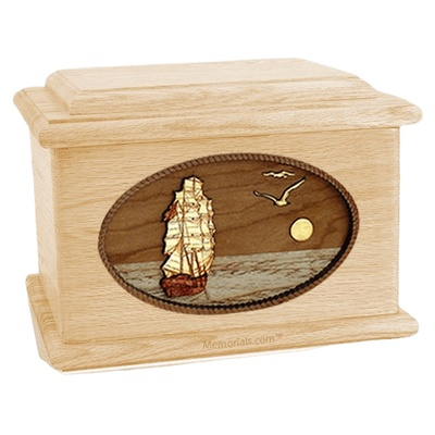 Sailing Home Maple Memory Chest Cremation Urn