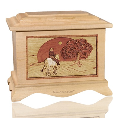 Horse & Moon Maple Cremation Urn