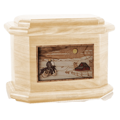 Motorcycle Moon Maple Octagon Cremation Urn