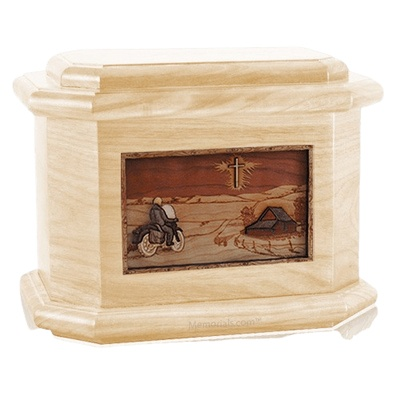 Motorcycle & Cross Maple Octagon Cremation Urn