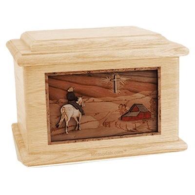 Horse & Cross Maple Memory Chest Cremation Urn