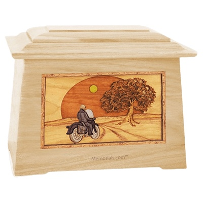 Motorcycle & Moon Maple Aristocrat Cremation Urn