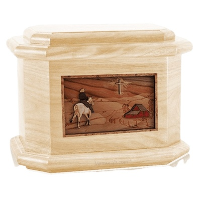 Horse & Cross Maple Octagon Cremation Urn