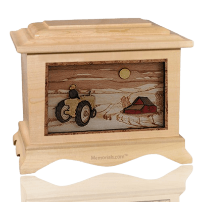 Tractor & Moon Maple Cremation Urn