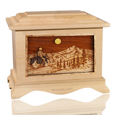 Motorcycle Mountains Maple Cremation Urn