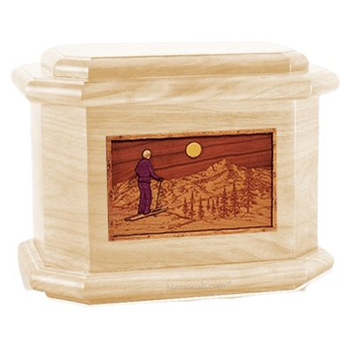 Skiing Maple Octagon Cremation Urn