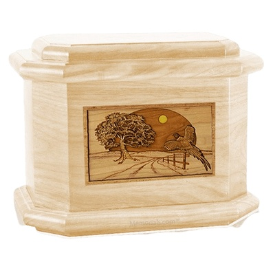 Pheasant Maple Octagon Cremation Urn