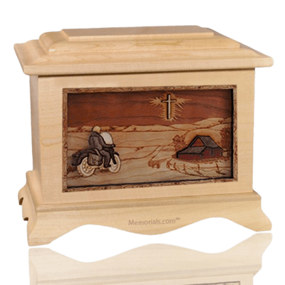 Motorcycle & Cross Maple Cremation Urn