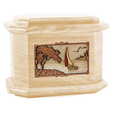 Sailboat Maple Octagon Cremation Urn