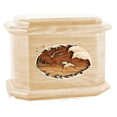 Dolphins Maple Octagon Cremation Urn