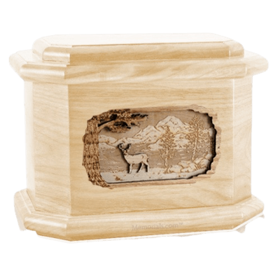 Deer Maple Octagon Cremation Urn