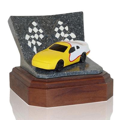 Yellow Race Car Keepsake Cremation Urn