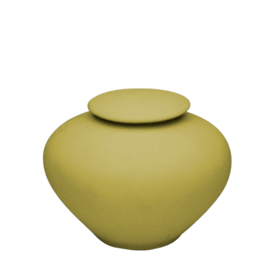 Yellow Silk Medium Porcelain Clay Urn