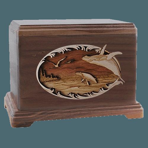 Whale & Calf Walnut Hampton Cremation Urn
