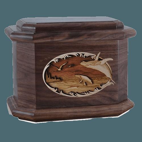 Whale & Calf Walnut Octagon Cremation Urn
