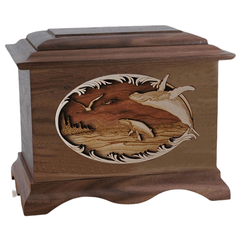 Whale & Calf Walnut Cremation Urn