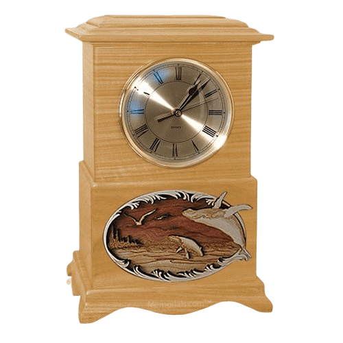 Whale and Calf Clock Oak Cremation Urn