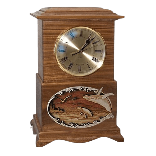 Whale and Calf Clock Walnut Cremation Urn