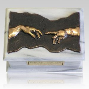 Close to God White & Bronze Cremation Urn