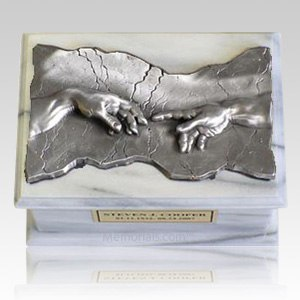 Close to God White & Silver Cremation Urn