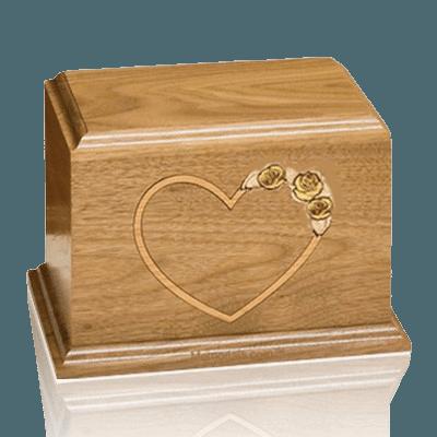 Yellow Rose Walnut Wood Cremation Urn