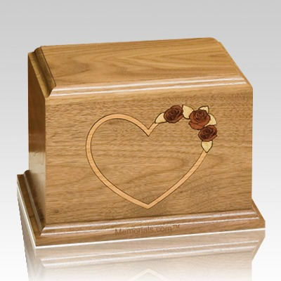Red Rose Walnut Wood Cremation Urn