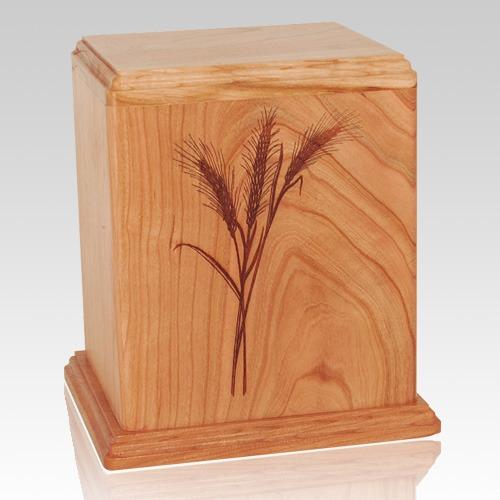 Wheat Cherry Wood Cremation Urn