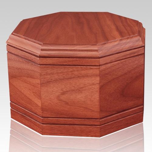 Octagon Cherry Wood Cremation Urn