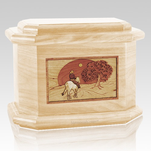 Horse & Moon Maple Octagon Cremation Urn
